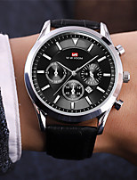 cheap -Men's Sport Watch Quartz Genuine Leather 30 m Water Resistant / Waterproof Calendar / date / day Day Date Analog Fashion Cool - Black / Silver Black Silver One Year Battery Life
