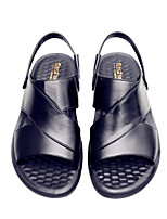 cheap -Unisex Sandals Flat Sandals Leather Sandals Summer Flat Heel Open Toe Daily PU Black / Brown