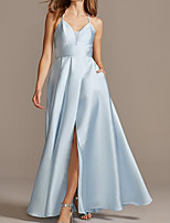 cheap -A-Line Elegant Beautiful Back Engagement Formal Evening Dress Spaghetti Strap Sleeveless Floor Length Satin with Pleats Split 2020