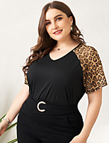 cheap -Women's Plus Size Leopard Mesh Patchwork Loose T-shirt Basic Daily Holiday Black