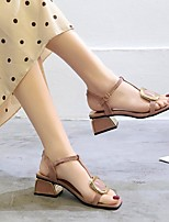 cheap -Women's Sandals Summer Chunky Heel Open Toe Daily PU Pink / Beige