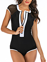 cheap -Women's One Piece Swimsuit Swimwear Breathable Quick Dry Sleeveless Front Zip - Swimming Water Sports Patchwork Summer / Stretchy