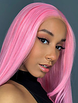 cheap -Synthetic Lace Front Wig Straight Gaga Middle Part Lace Front Wig Pink Long Pink Synthetic Hair 22-26 inch Women's Heat Resistant Women Hot Sale Pink / Glueless