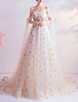 cheap -A-Line Glittering White Engagement Formal Evening Dress Strapless Sleeveless Court Train Organza with Appliques 2020