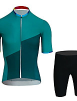 cheap -21Grams Men's Short Sleeve Cycling Jersey with Shorts Black / Green Bike UV Resistant Quick Dry Sports Patterned Mountain Bike MTB Road Bike Cycling Clothing Apparel / Stretchy