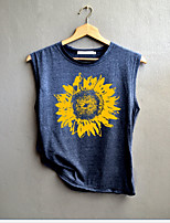 cheap -Women's Geometric Sun Flower T-shirt Daily Weekend Blue / Dark Gray / Gray