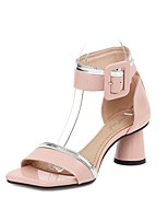 cheap -Women's Sandals 2020 Summer Flare Heel Open Toe Preppy Minimalism Daily Party & Evening Buckle Solid Colored PU Almond / Black / Pink