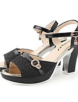 cheap -Women's Sandals Summer Block Heel Open Toe Daily Outdoor Buckle PU Black / Gold / Silver