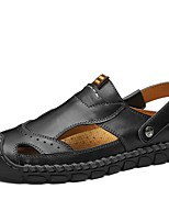 cheap -Men's Summer Outdoor Sandals Cowhide Non-slipping Light Brown / Black / Brown