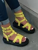 cheap -Women's Sandals Flat Sandal Summer Flat Heel Open Toe Roman Shoes Daily PU Black / Yellow / Pink