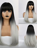 cheap -Synthetic Wig Bangs Straight Natural Straight Side Part Neat Bang With Bangs Wig Ombre Very Long Ombre Color Synthetic Hair 24 inch Women's Cosplay Women Synthetic Ombre HAIR CUBE