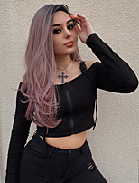 cheap -Synthetic Lace Front Wig Straight Middle Part Lace Front Wig Pink Ombre Long Pink Synthetic Hair 18-26 inch Women's Cosplay Soft Party Pink Ombre