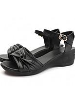 cheap -Women's Sandals Wedge Sandals Summer Wedge Heel Open Toe Casual Daily PU Black