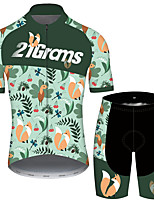 cheap -21Grams Men's Short Sleeve Cycling Jersey with Shorts Green Floral Botanical Bike UV Resistant Quick Dry Sports Patterned Mountain Bike MTB Road Bike Cycling Clothing Apparel / Stretchy