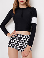 cheap -Women's Rashguard Swimsuit Swimwear Breathable Quick Dry Long Sleeve 2-Piece - Swimming Surfing Water Sports Patchwork Summer / Stretchy