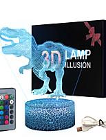 Недорогие -лампа динозавра 3d иллюзия для мальчика лампа динозавра 16 цветов с дистанционным управлением smart touch night light лучший рождественский подарок на день рождения для мальчика девочка дети возраст 5