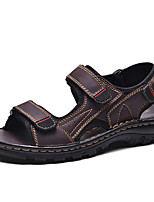 cheap -Men's Fall / Spring & Summer Casual Daily Outdoor Sandals Nappa Leather Breathable Non-slipping Shock Absorbing Light Brown / Dark Brown / Black
