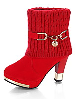 cheap -Women's Boots Winter Chunky Heel Round Toe Daily Suede Mid-Calf Boots Black / Red