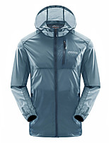 cheap -Men's Women's Hiking Skin Jacket Hiking Jacket Summer Outdoor Waterproof Sunscreen Breathable Quick Dry Jacket Hoodie Top Spandex Running Hunting Fishing Grey / Blue / Royal Blue / Dark Blue