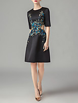 cheap -A-Line Cut Out Black Party Wear Cocktail Party Dress Jewel Neck Half Sleeve Knee Length Satin with Appliques 2020