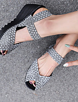 cheap -Women's Sandals Wedge Sandals Summer Wedge Heel Open Toe Daily Synthetics Black / Blue / Silver