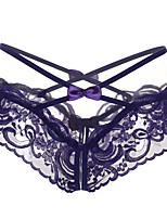 cheap -Women's Lace / Bow / Basic G-strings & Thongs Panties - Normal Mid Waist Purple Blushing Pink Fuchsia One-Size
