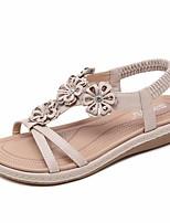cheap -Women's Sandals Flat Sandal Summer Flat Heel Open Toe Daily PU Black / Red / Beige