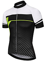 cheap -21Grams Men's Short Sleeve Cycling Jersey Polyester Black / White Stripes Gradient Bike Jersey Top Mountain Bike MTB Road Bike Cycling UV Resistant Breathable Quick Dry Sports Clothing Apparel