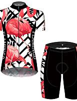 Недорогие -21Grams Жен. С короткими рукавами Велокофты и велошорты Черный / красный Фламинго Цветочные ботанический Велоспорт Дышащий Быстровысыхающий Виды спорта Фламинго Горные велосипеды Шоссейные велосипеды