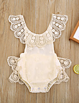 cheap -Baby Girls' Basic Solid Colored Lace Sleeveless Bodysuit Beige