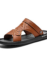 cheap -Men's Fall Casual Daily Outdoor Sandals PU Breathable Non-slipping Shock Absorbing Light Brown / Dark Brown / Black Color Block
