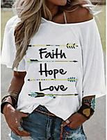 cheap -Women's Letter Print T-shirt Daily White / Blue / Yellow