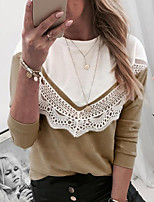cheap -Women's Color Block T-shirt Daily Khaki