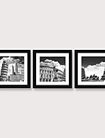 cheap -Framed Art Print Framed Set Famous Ancient Buildings in Europe Landscape Scenic PS Illustration Wall Art