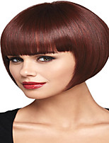 cheap -Synthetic Wig kinky Straight With Bangs Wig Short Burgundy Synthetic Hair 12 inch Women's Simple Fashionable Design Classic Burgundy