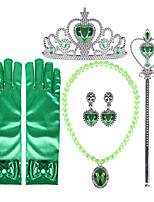 cheap -Anna Princess Cosplay Jewelry Accessories Girls' Movie Cosplay Green Gloves Crown Earrings Children's Day Masquerade Plastics / Wand