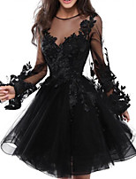 cheap -A-Line Floral Black Homecoming Cocktail Party Dress Illusion Neck Jewel Neck Long Sleeve Short / Mini Lace Tulle with Appliques 2020
