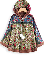 cheap -Women's Winter Cloak / Capes Daily Regular Color Block Cotton Green M / L / XL
