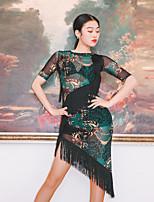 cheap -Latin Dance Dress Tassel Pattern / Print Split Joint Women's Training Performance Short Sleeve Mesh
