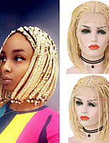 cheap -Synthetic Lace Front Wig Box Braids Plaited Middle Part with Baby Hair Lace Front Wig Blonde Pink Short Long Light Blonde Synthetic Hair 12-16 inch Women's Party Women Synthetic Blonde Pink