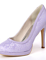cheap -Women's Wedding Shoes Spring / Summer Stiletto Heel Round Toe Minimalism Wedding Party & Evening Solid Colored Lace / Satin White / Black / Light Purple