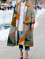 cheap -Women's Fall Winter Coat Daily Going out Geometric Regular Color Block Orange S / M / L