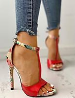 cheap -Women's Sandals Summer Stiletto Heel Open Toe Daily PU Black / Red / Beige
