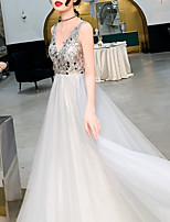 cheap -A-Line Luxurious Grey Engagement Formal Evening Dress V Neck Sleeveless Sweep / Brush Train Tulle with Sequin 2020
