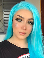 cheap -Synthetic Lace Front Wig Straight Gaga Middle Part Lace Front Wig Long Sky Blue Synthetic Hair 22-26 inch Women's Heat Resistant Women Hot Sale Blue / Glueless