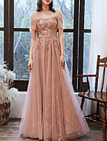 cheap -A-Line Glittering Pink Prom Formal Evening Dress Off Shoulder Short Sleeve Floor Length Tulle with Sequin 2020