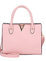 cheap -Women's Zipper PU Leather Top Handle Bag Leather Bags Solid Color Black / Red / Blushing Pink