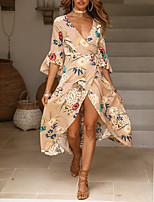 cheap -Women's Sheath Dress Daisy Maxi long Dress - Half Sleeve Floral Tie Dye Split Spring Summer V Neck Sexy Holiday Beach Flare Cuff Sleeve 2020 Black S M L XL XXL
