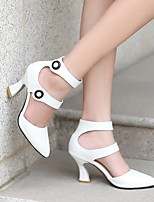 cheap -Women's Heels Summer Flared Heel Pointed Toe Daily PU White / Black / Pink