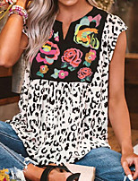 cheap -Women's Leopard T-shirt Daily V Neck White